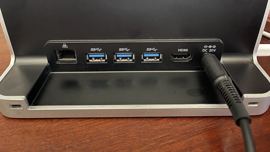 Back of the Kensington StudioDock showing the available ports and power port